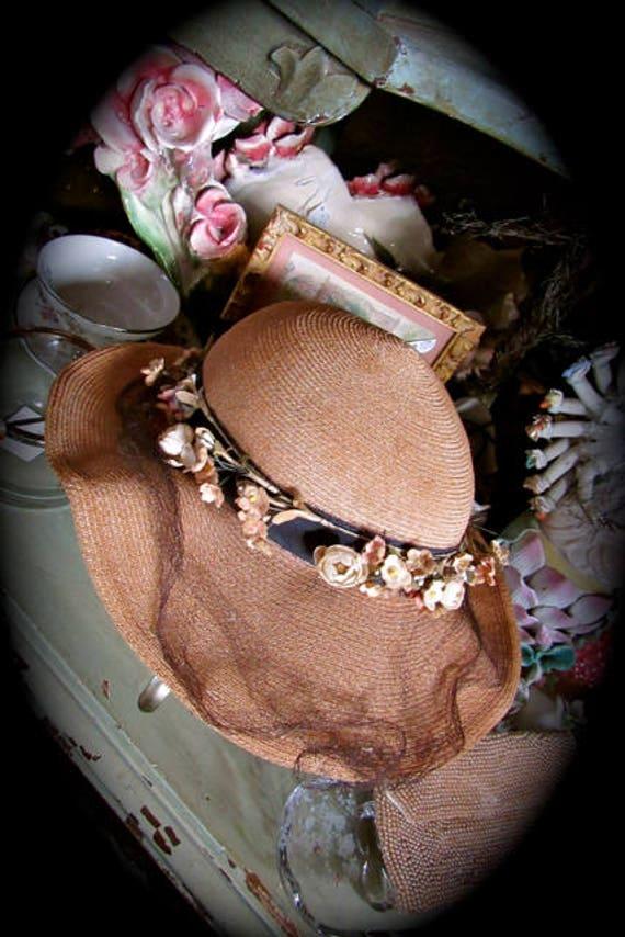 30s straw hat, vintage sunday hat, period hat, cos