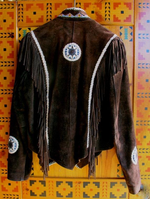 Vintage Fringed coat, brown suede fringe jacket, … - image 4