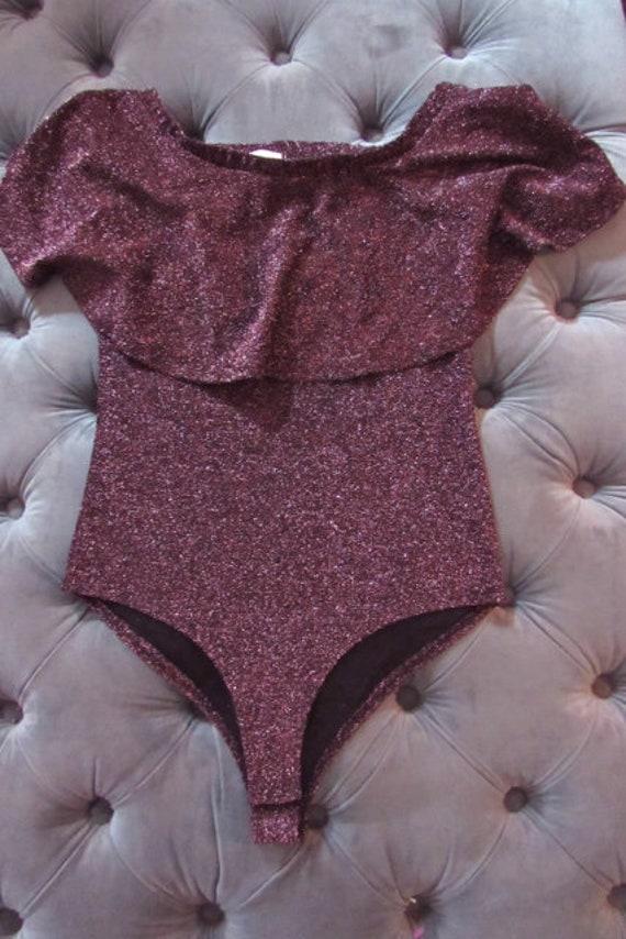 80s sparkle bodysuit, plum bodysuit, disco bodysu… - image 2