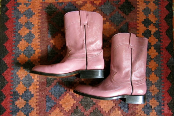 Vintage pink leather boots, handmade Mexico boots,