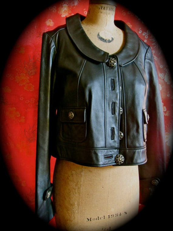 Vintage black crop leather jacket,  Wilson Leather