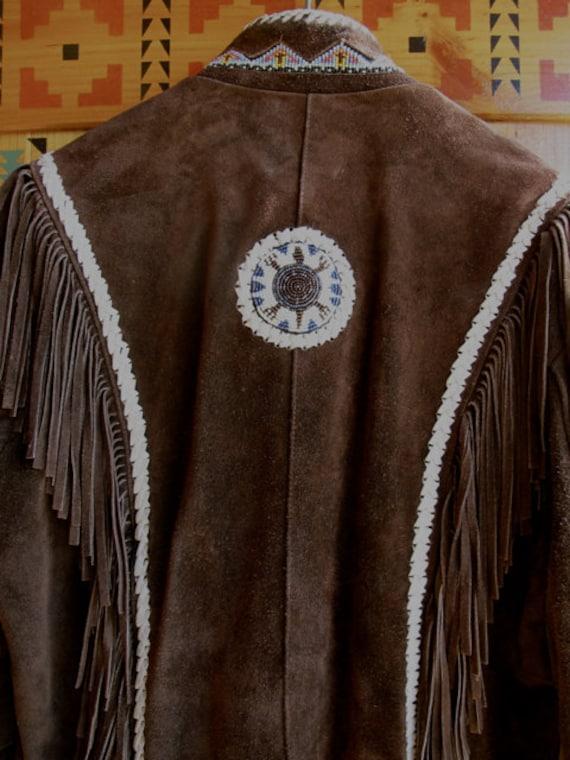 Vintage Fringed coat, brown suede fringe jacket, … - image 5