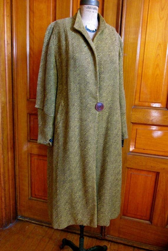 1920s 30s wool coat, brown yellow tweed long coat,