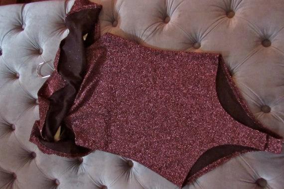 80s sparkle bodysuit, plum bodysuit, disco bodysu… - image 3