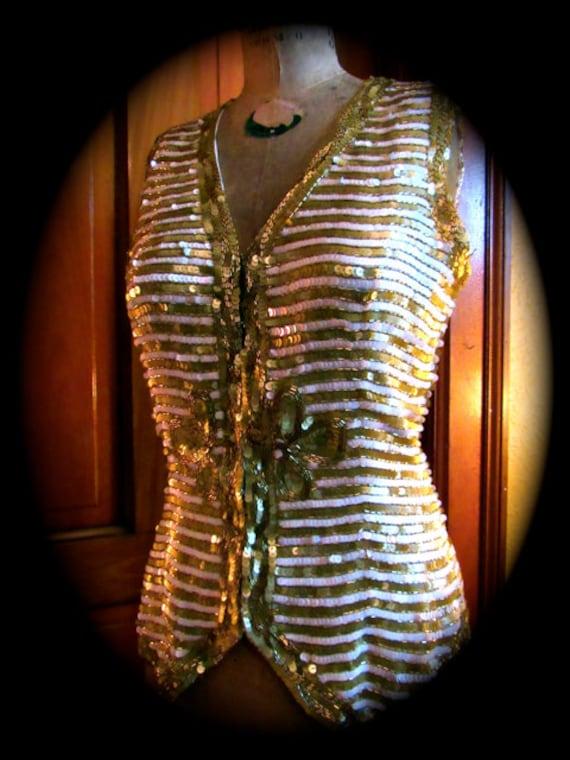 Sequin vest, 90s Leslie Fay sequin vest,  evening