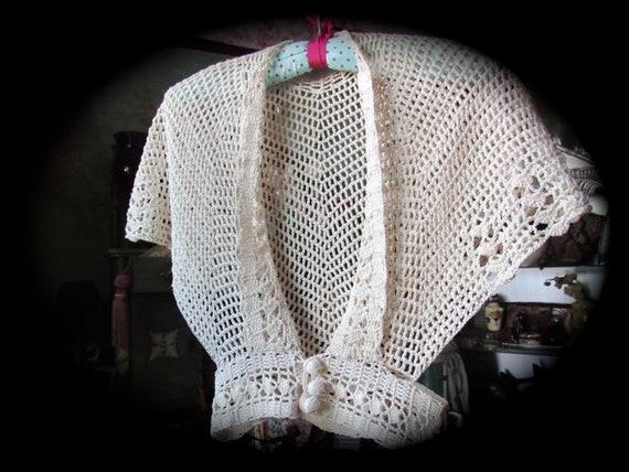 Vintage crochet jacket, alternative wedding, 30s 4