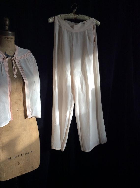 40s pajama pants rayon button waist pale pink ankl