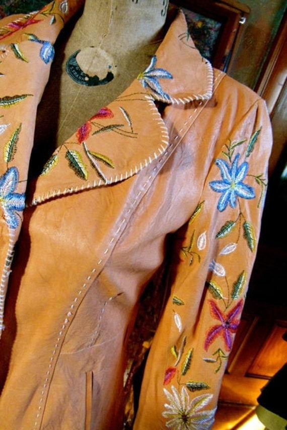 vintage embroidered leather blazer, crushed real l