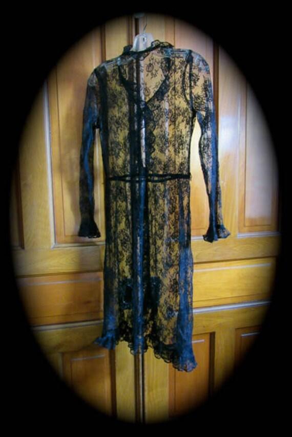 Vintage Lace Dress, black Lace dress, Lace over dr