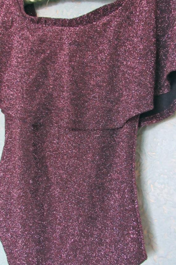 80s sparkle bodysuit, plum bodysuit, disco bodysu… - image 8