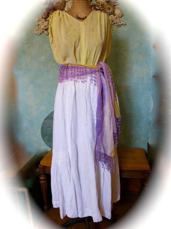 Vintage Linen Skirt, festival skirt, Vintage Linen