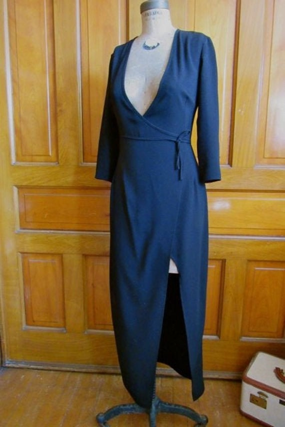Vintage plunge neck wrap dress,  deep neckline wra
