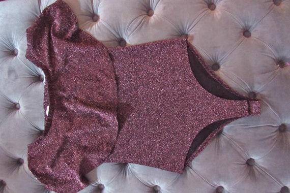 80s sparkle bodysuit, plum bodysuit, disco bodysu… - image 1
