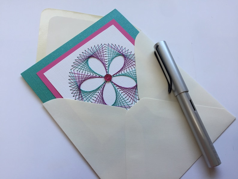 Teal Fuchsia Flower Embroidered Stitched Greeting Card