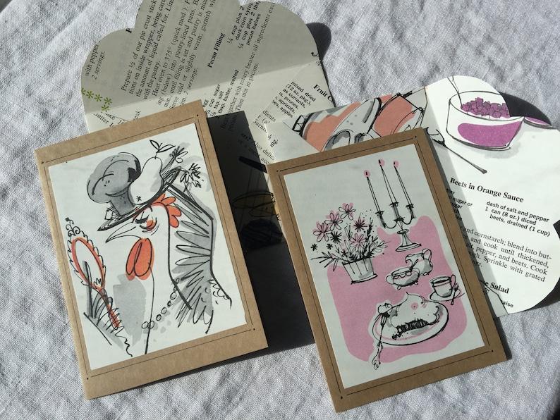 Vintage 1960s Betty Crocker Recipe Illustrated Blank Cards Set of 6