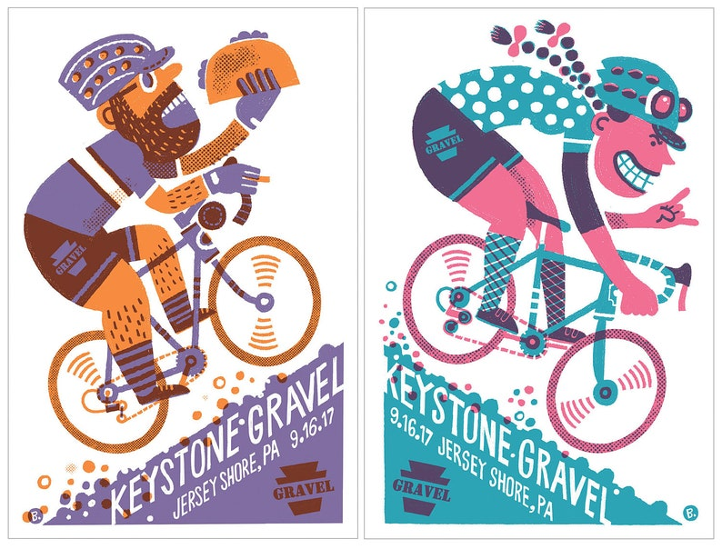 BOTH Keystone Gravel screenprinted posters Him and Her image 0