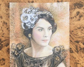 Downton Abbey Lady Mary Royalty Edwardian Vintage Girl Art