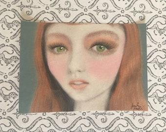 Pop Surreal Big-Eyed Redhead Shimmer Girl Art Painting