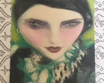 1920's Vintage Brunette Emerald Green Smoky Fashion Woman Art Painting