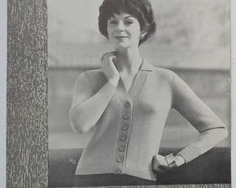 5537c3dcf5b88 Vintage Knitting Pattern 1950s 1960s Women s Cardigan with collar 50s 60s  original pattern Munrospun No. 7062 UK classic style 4 ply yarn