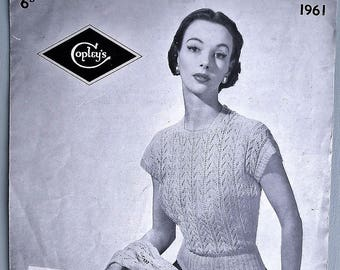 dd233884057c Vintage 1940s 1950s knitting pattern women s sweater jumper and stole wrap  lacy design 40s 50s original pattern Copley s UK