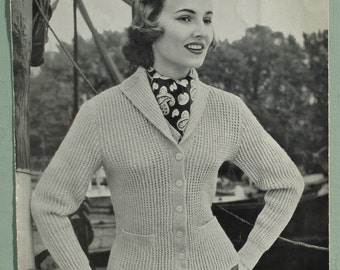 Vintage 1950s Knitting Pattern Women's Jacket / Cardigan and Sweater / Jumper ribbed design 50s original pattern Jaeger No. 3350 UK