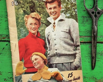 Vintage 1950s Knitting Pattern Book Double-Knitting Woollies Bestway K 132 UK 50s original patterns for women men & children beret scarf set