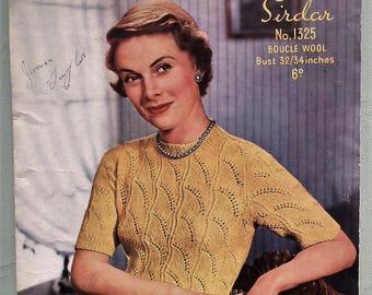 "Vintage 40s 50s Knitting Pattern Women's Sweater Jumper Top - lacy design - 1940s 1950s original pattern - Sirdar No. 1325 UK - 32"" 34"" bust"
