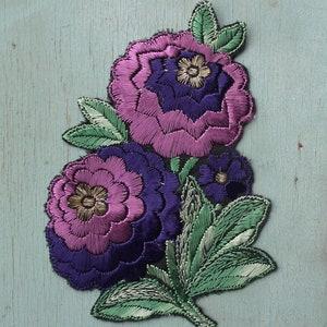 blue yellow pink 20s 30s antique dress trim metallic thread Vintage applique 1920s 1930s sew-on fabric applique dragonfly motif