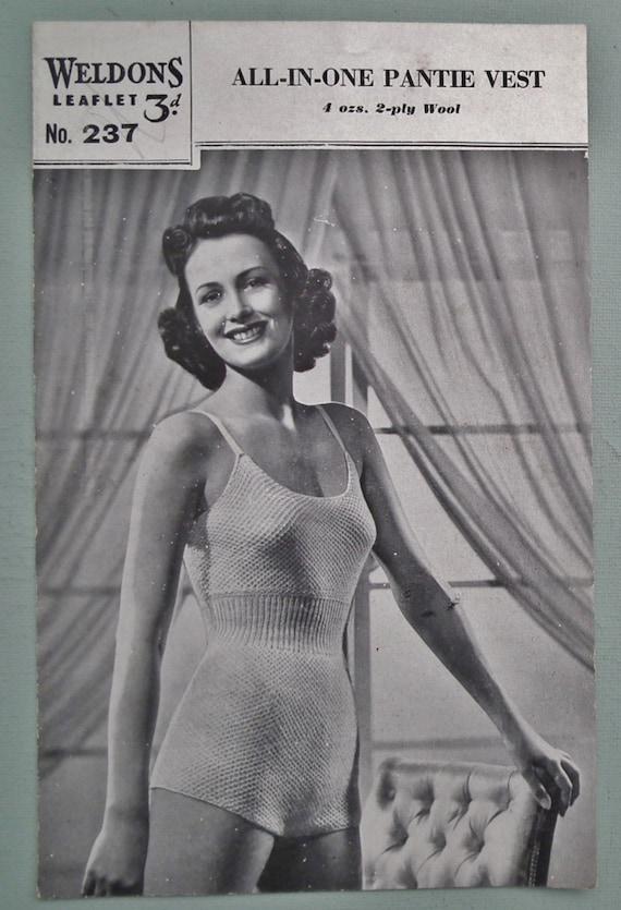 feebaac60d Vintage Knitting Pattern 1940s Womens Lingerie Cami-Knickers