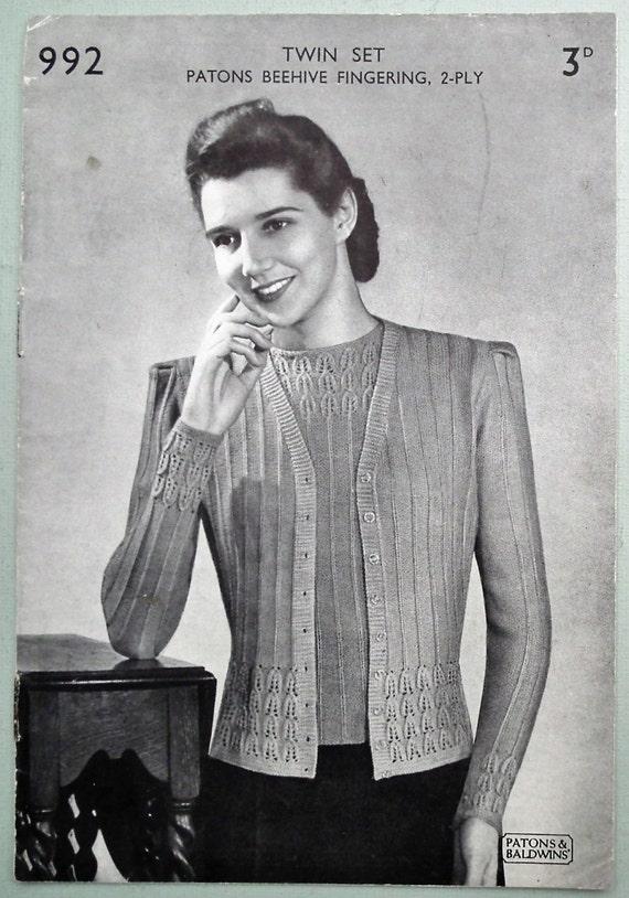 Et Twin De Pull 1940s Femme 1930s Motif Tricot La Set Vintage PqUSv0xwn