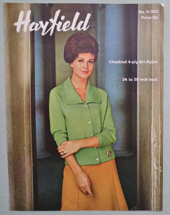 a7f5c9778dfe Vintage 1960s Knitting Pattern Women s Cardigan Jacket 60s