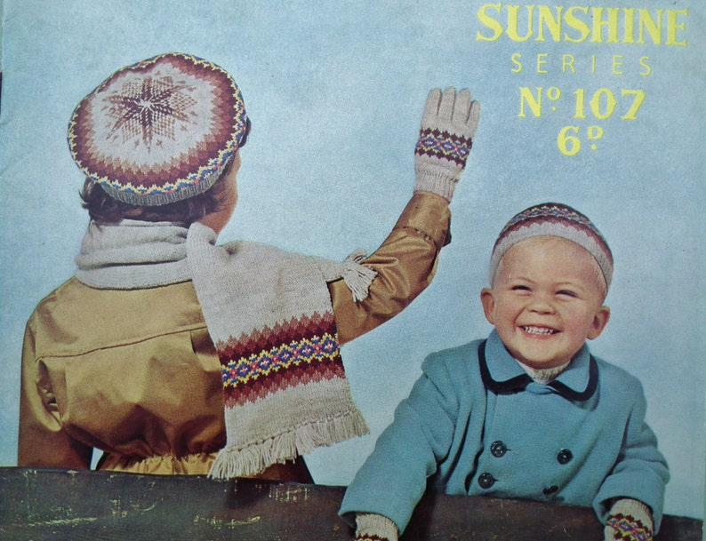 Vintage 1940s 1950s Knitting Pattern Children's Fair Isle ...