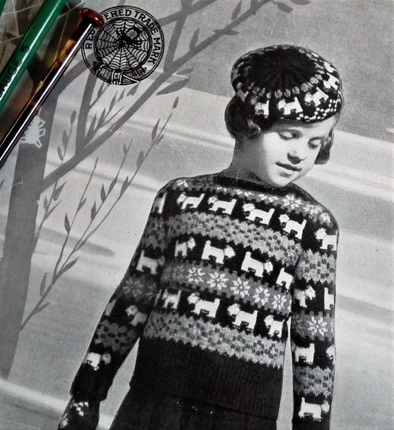 Vintage 1930s Fair Isle Knitting Pattern Childs Sweater Etsy