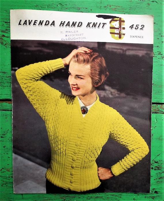 ripple rib cardigan textured stitch Lavenda No Vintage 1950s Knitting Pattern Women/'s Cardigan 50s original colour pattern 452 UK