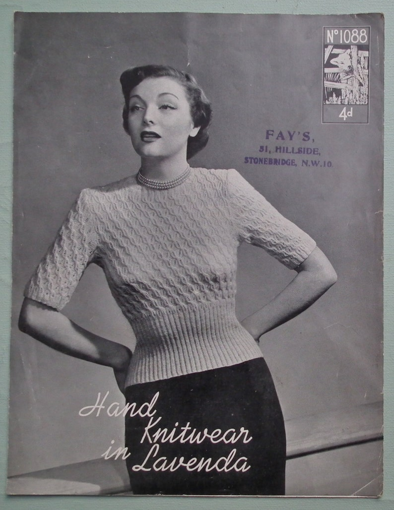 9623d6233 Vintage 1930s 1940s Knitting Pattern Womens Sweater Jumper 30s