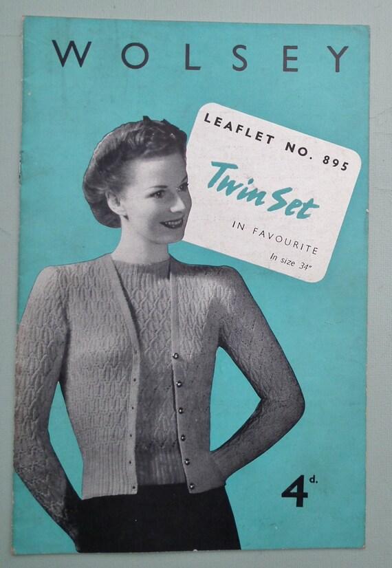 Modello originale di vintage Knitting Pattern 1940s donna Twin Set maglia maglione Cardigan 40s Wolsey n. 895 UK