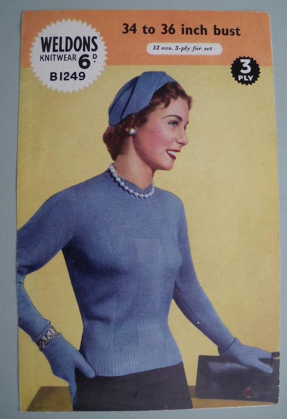 f00f1dc114 Vintage Knitting Pattern 1950s Women s Sweater Jumper