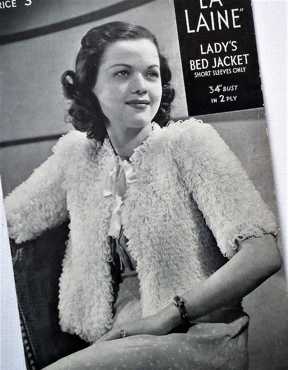Vintage 1930s 1940s Knitting Pattern Women/'s Bedjacket Cardigan 30s 40s original pattern La Laine No 2199 UK loop stitch 32-34