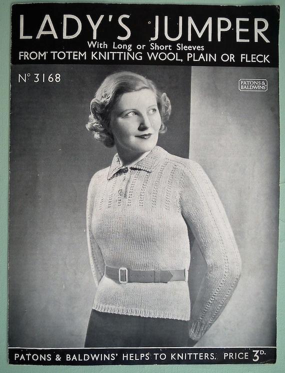 patron original vintage des ann es 30 tricot motif femmes pull etsy. Black Bedroom Furniture Sets. Home Design Ideas