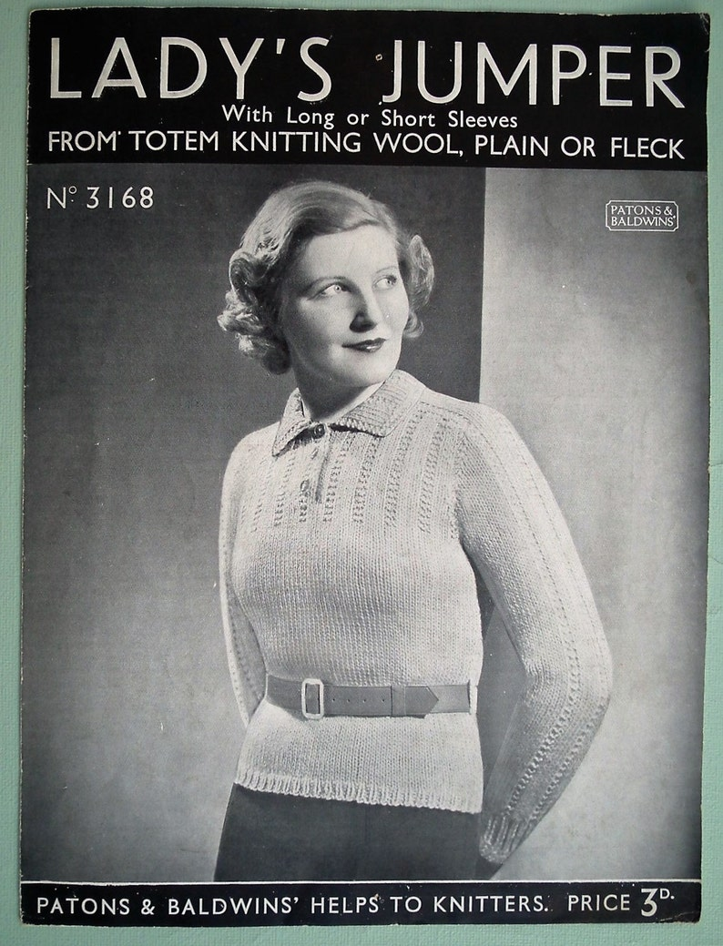 213a7cd80 Vintage 30s Knitting Pattern Womens Sweater Jumper 30s