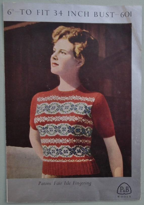 Vintage 40s Fair Isle Knitting Pattern Women\'s Fair Isle | Etsy