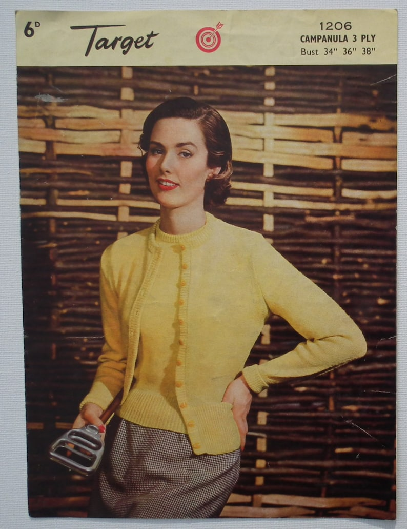 Vintage 1950s Knitting Pattern Women's Twin Set Sweater image 0