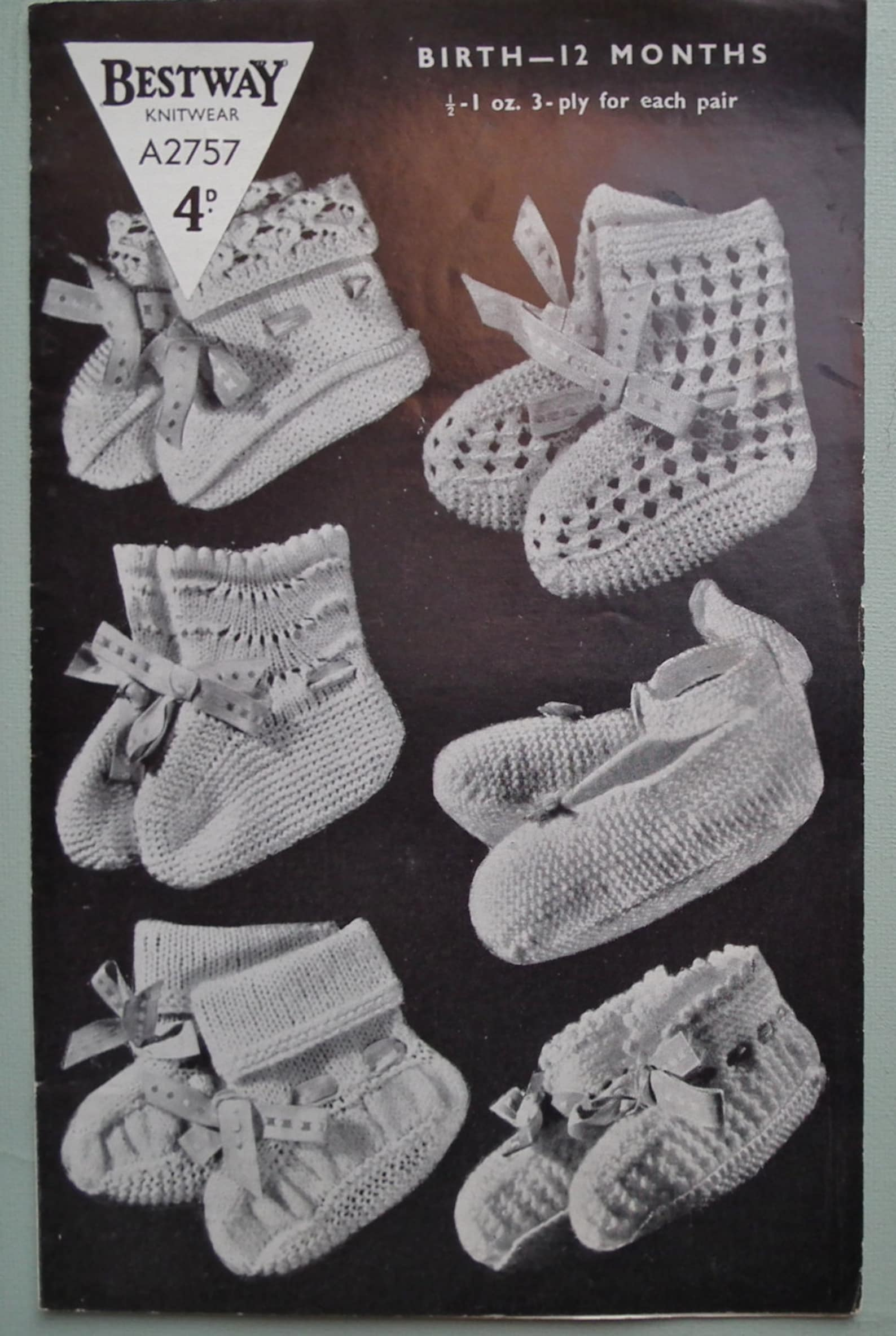 vintage 1940s 1950s baby knitting pattern babies bootees ankle shoes ballet slippers 40s 50s original p uk birth to 12 months