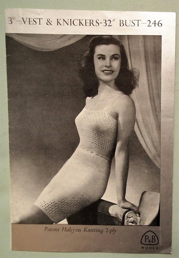 3dee71c96e Vintage Knitting Pattern 1940s 1950s Women s Lingerie Vest