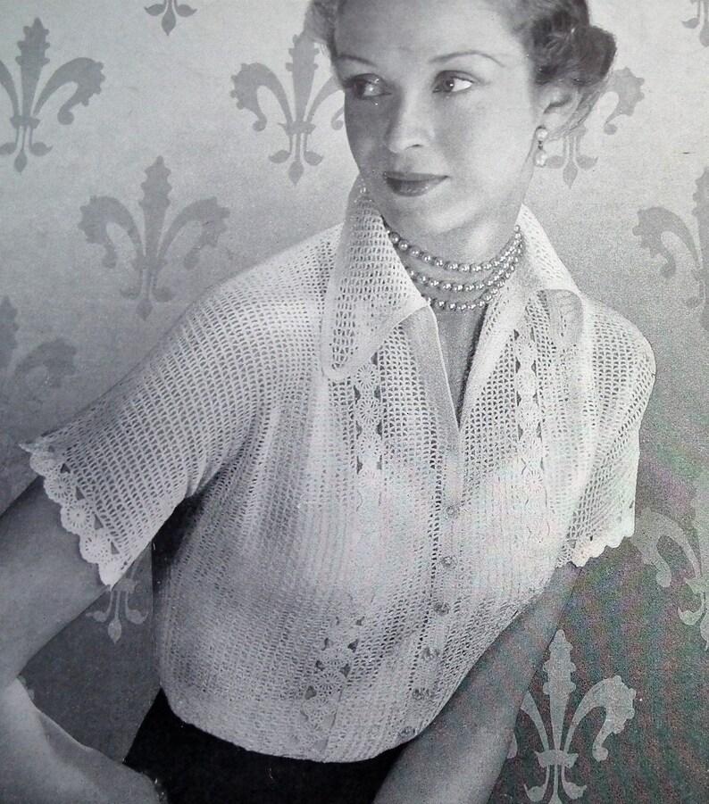d8c9ac5c7 Vintage 1950s crochet pattern women s short-sleeved lacy