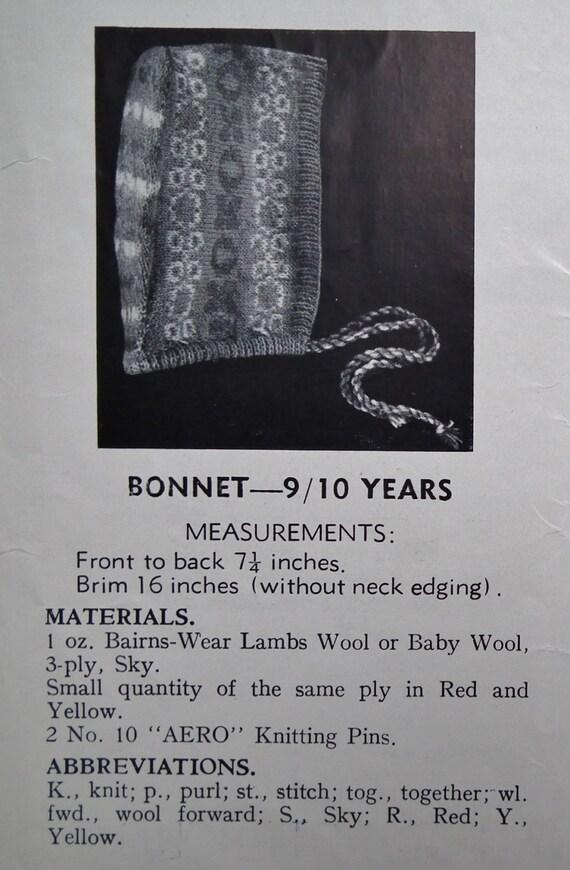 Jahrgang der 30er Jahre 40er Jahre Stricken Muster Kinder Hüte   Etsy