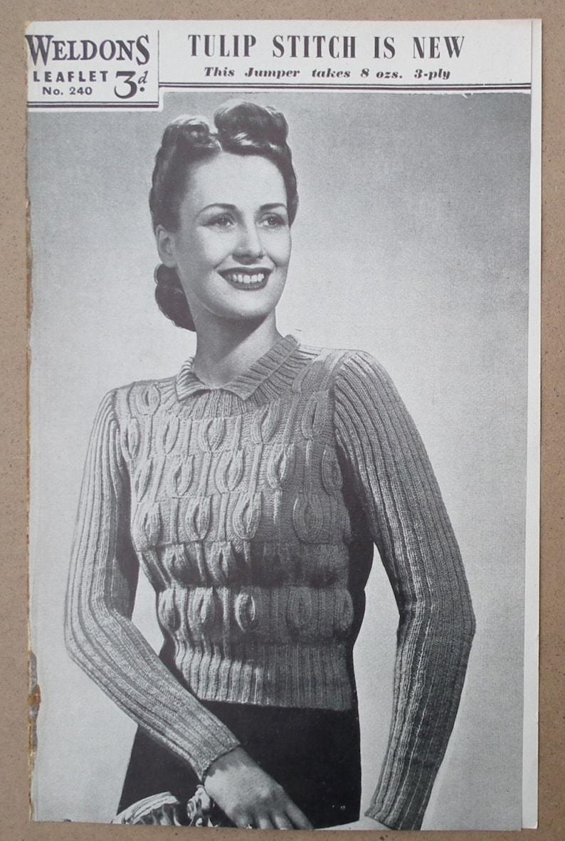 7e850399a Vintage 1930s 1940s Knitting Pattern Women s Sweater