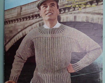 Vintage 1940s 1950s Knitting Pattern Men's Sweater / Jumper Dolman Sleeves 40s 50s original pattern Sirdar No. 1574 UK