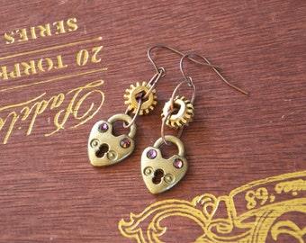 Antique Bronze Heart Lock Earrings